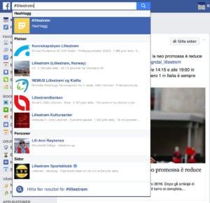 Facebook søk på hashtag